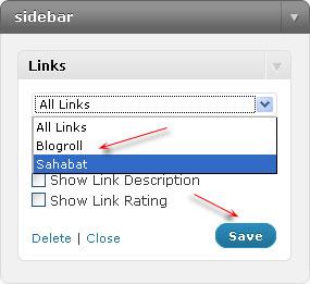 pengaturan widget link