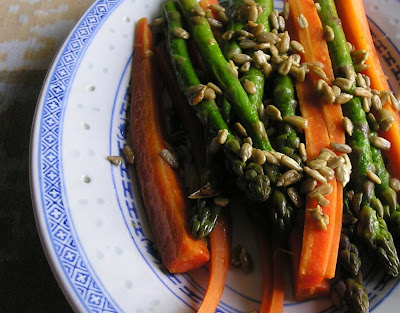 Carrots and Asparagus with Sesame or Sunflower Seeds