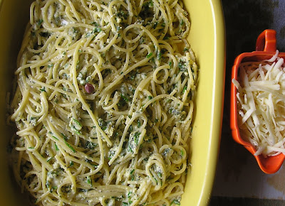 Spaghetti with Eggy Herb Sauce
