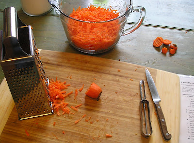 Making Marmalade - grate the carrots