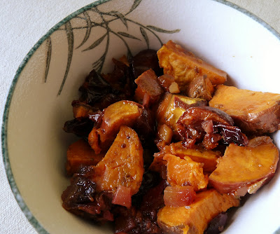 Sweet Potatoes Roasted with Plums and Ginger