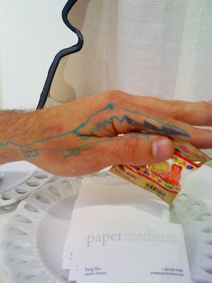 [Image above] Jason's lightning bolt tattoo I transformed into an alligator.