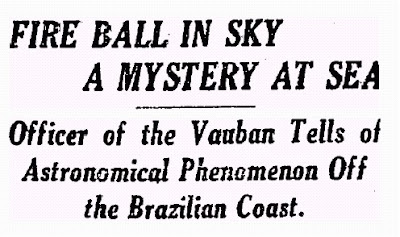 Fireball in Sky (Heading) - New York Times 2-20-1922