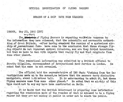 Official Tells Kilgalllen Saucers Originate From Other Planet (INS) 5-23-1955 (Crpd)