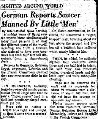 German Reports Saucer Manned By Little Men - INS 10-10-1954 (Crpd)
