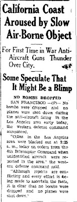 California Coast Aroused By Slow Air-Borne Object - The Maryville Daily Forum 2-25-1942
