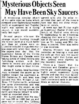 Mysterious Objects May Have Been Sky Saucers - Ogdensburg Advance 12-20-1953