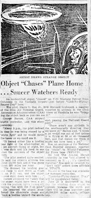 Object Chases Plane Home - The Dayton Journal Herald 6-25-1954