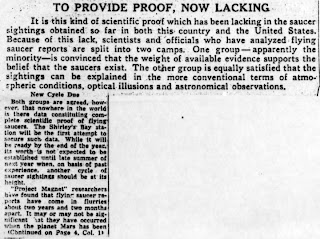 Flying Saucers or Not -  Canada Sighting Station To Seek Scientific Proof - The Toronto Star 11-11-1953 (B)