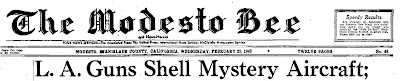 LA Guns Shell Mystery Aircraft (Heading) - The Modesto Bee 2-25-1942