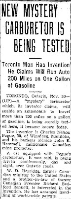 New Mystery Carburetor is Being Tested (Heading) - Jefferson City Post-Tribune 11-301936