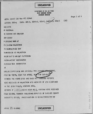 Air Force Staff Message UFO Landing Bolt Montana March 1967 (A)