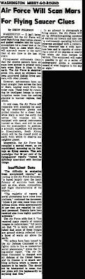 Air Force Will Scan Mars For Flying Saucer Clues -St. Petersburg Times 1-19-1954