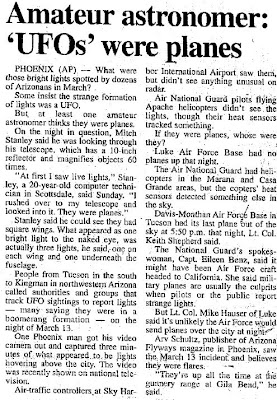 Amateur Astronomer - UFOs Were Planes - Casa Grande Dispatch 6-30-1997