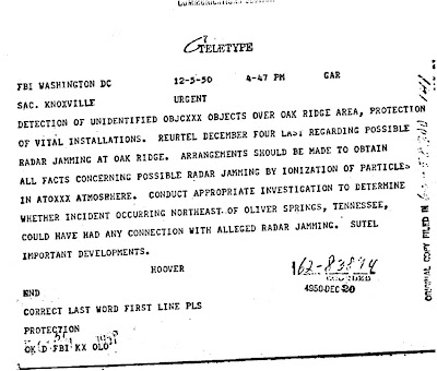 UFOs Affect Radar at Oakridge - FBI Teletype 12-5-1950