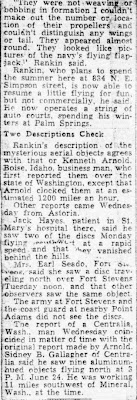 Pilot Reports Seeing Discs (B) - The Oregonian 7-3-1947