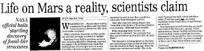 Life On Mars a Reality Scientists Claim - Winnepeg Free Press 8-7-1996