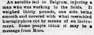 An Aerolite Fell in Belgium - The San Francisco Call (Sunday) 4-18-1897
