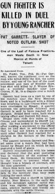 Gun Fighter is Killed in Duel By Young Rancher - Los Angeles Herald - Sunday 3-1-1908