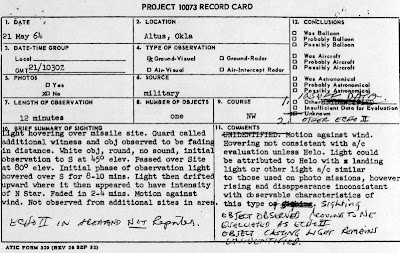 UFO Report at  Missile Site, Altus AFB Oklahoma 5-21-1964