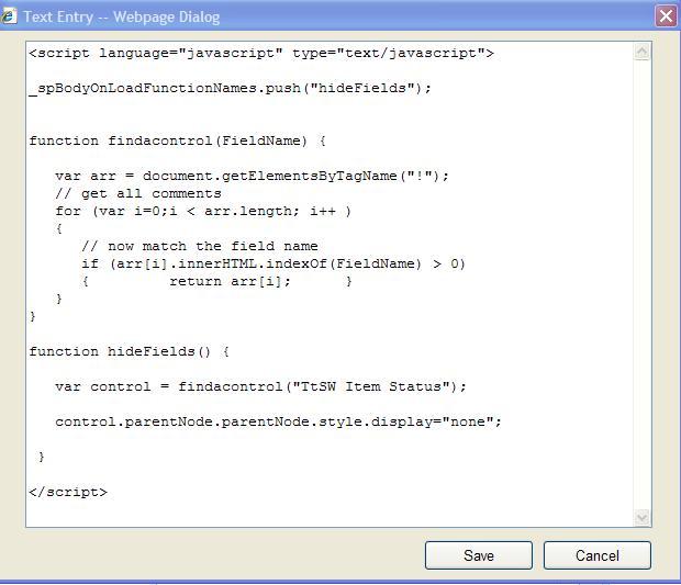 5 add the below script for editpage