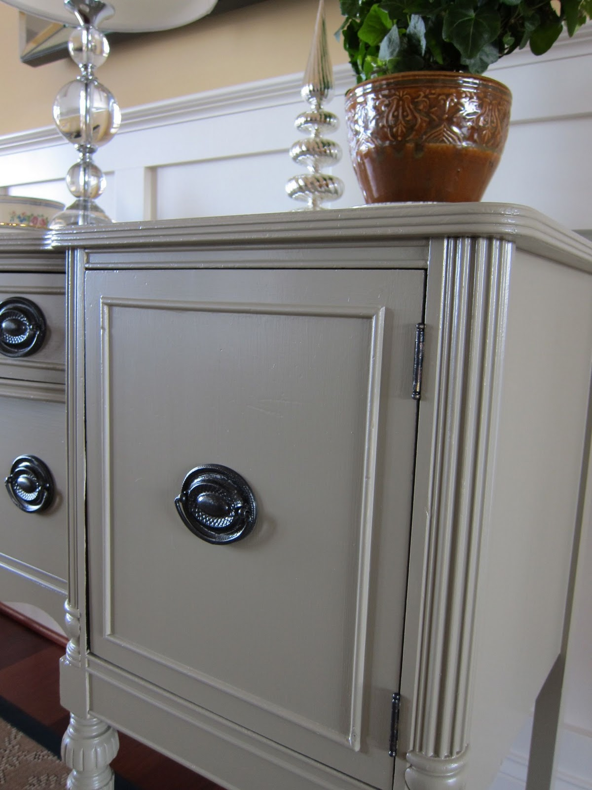 Lulabelle 39 s view a new look for an old sideboard for Neutral light grey paint