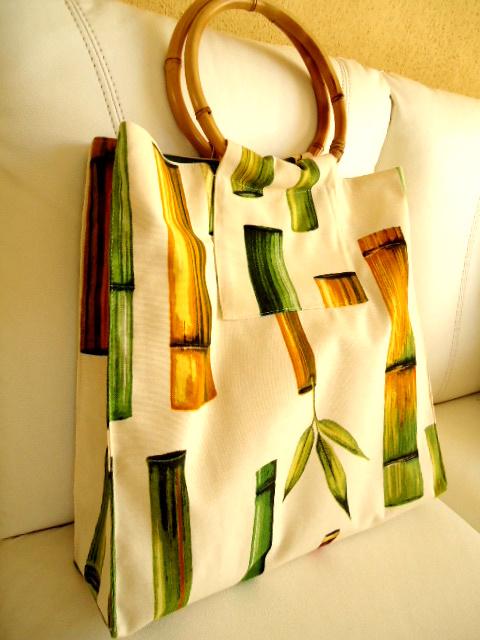 Bolsa De Tecido Com Alça De Bambu : Costurando marias bolsa al?a de bamb?