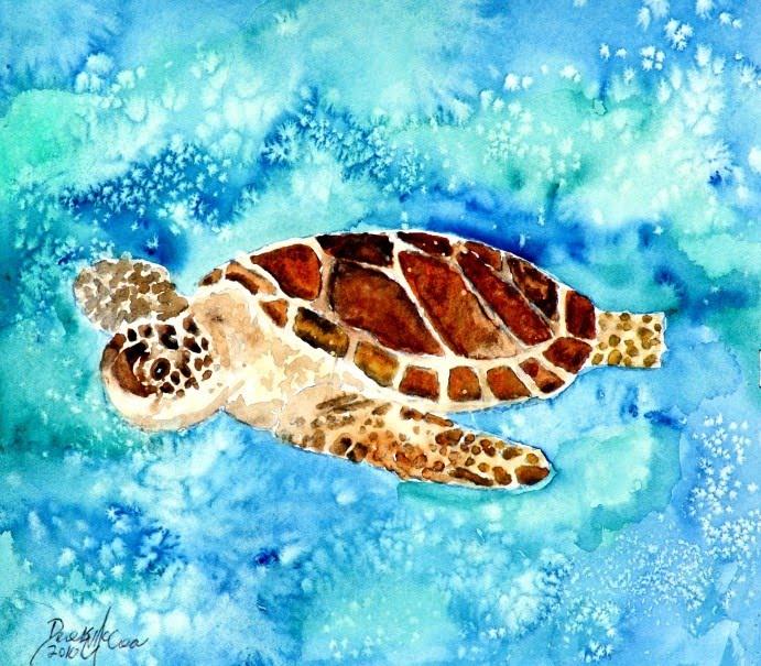 Baby sea turtle art
