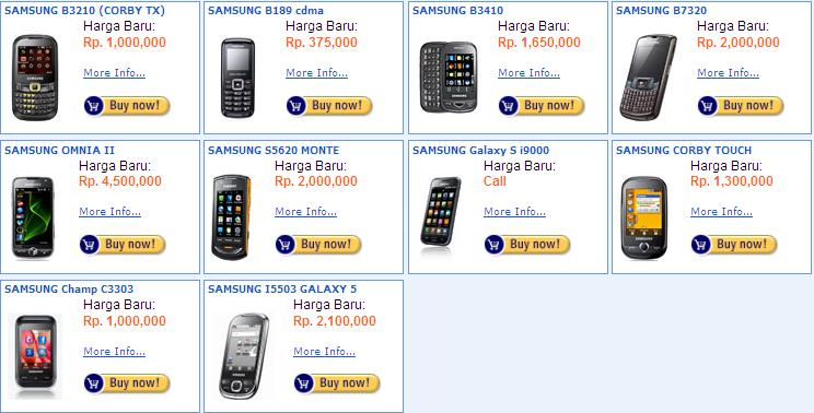 Harga Samsung Terbaru, Bekas Indonesia