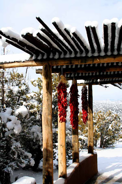 Ristras in Snow - Our Portal - New Mexico
