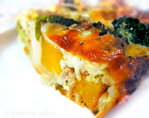 Delicious roasted vegetable quiche- gluten-free.