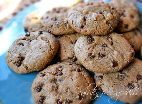 Gluten free chocolate chip cookies made with buckwheat flour