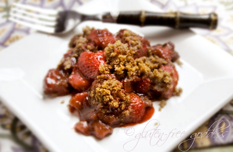Gluten free strawberry rhubarb crisp makes an easy dessert