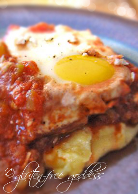 Spicy eggs on polenta - huevos diablo