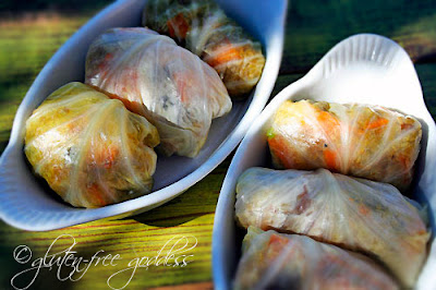 Gluten free stuffed cabbage with quinoa and sweet potato stuffing
