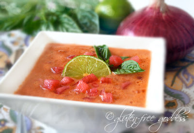 Vegan summer soup- watermelon gazpacho with lime