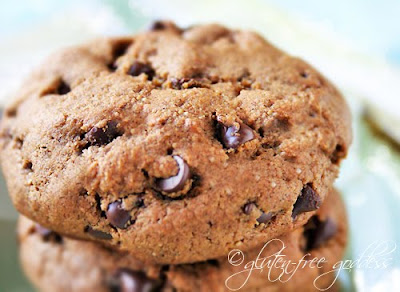 Gluten free chocolate chip cookies baked with espresso
