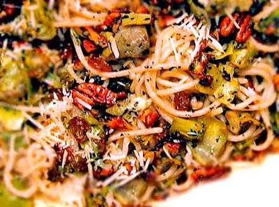 Gluten free pasta with pecnas and artichokes from Karina Gluten-Free Goddess