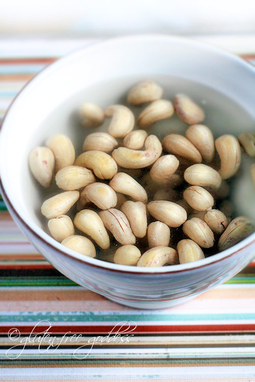 Making cashew cream starts with soaking cashews in fresh water