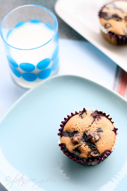 Gluten free almond meal muffins baked with dairy and egg substitutions
