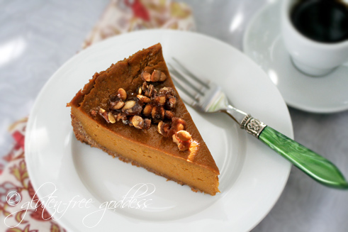 Vegan praline topping adds crunch and sweetness to this gluten free dairy free pumpkin pie