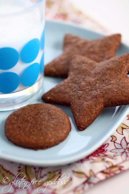Vegan and wheat free ginger cookies is moon and star shapes for Christmas