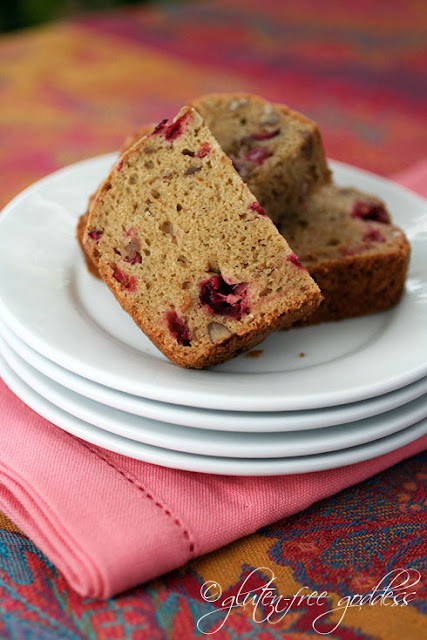 Photo of gluten free cranberry bread with nuts