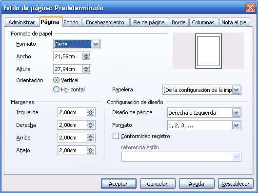 Figura 1. Cuadro de diálogo: Estilo de Página de Writer .