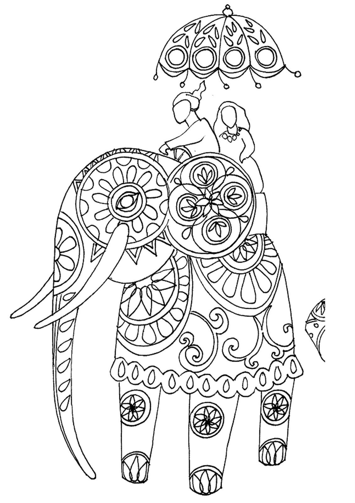 Indian Elephant Line Drawing Elephant Box Elephant ...