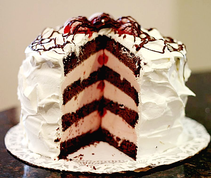 Chocolate Covered Strawberries Ice Cream Cake