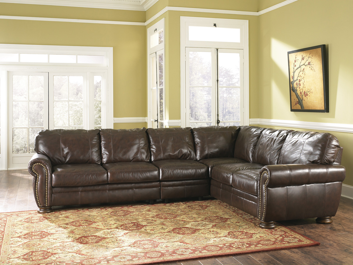 The Furniture Review Palmer Walnut Leather Sectional By