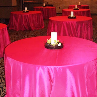 Tables   I Like The Above Linens But Doing The Whole Room In This Color  Would Be Overwhelming. On This Table With Pink, I Would Add A Black Overlay  With A ...
