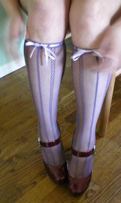 lavender fishnet knee socks with ribbons