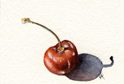 watercolour cherry painting